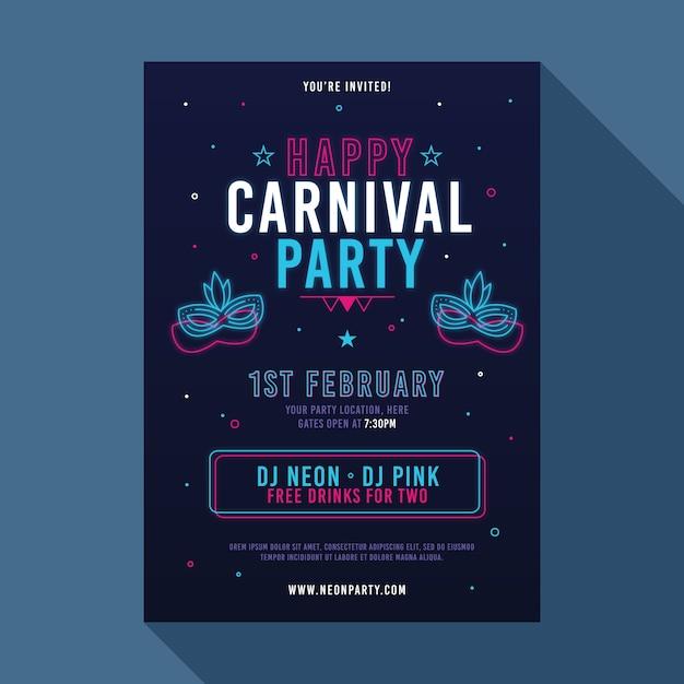 Folleto de fiesta de carnaval de neón vector gratuito