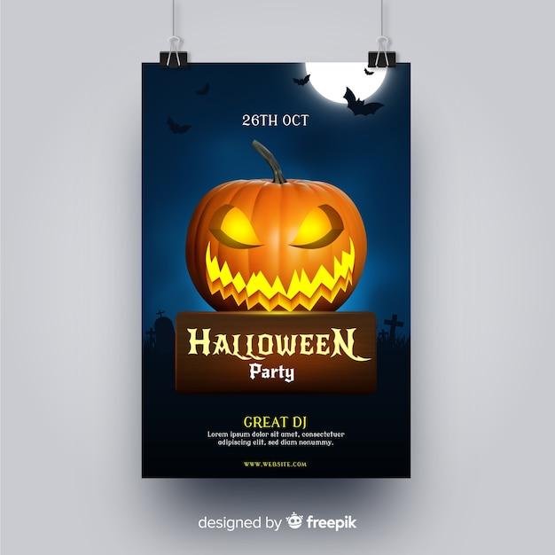 Folleto de fiesta de halloween de calabaza enojada tallada vector gratuito