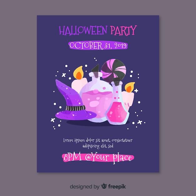 Folleto de fiesta de halloween de elementos de brujería vector gratuito