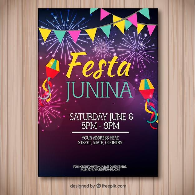 Folleto de fiesta junina con fuegos artificiales coloridos vector gratuito