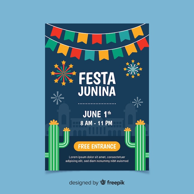 Folleto de fiesta junina vector gratuito
