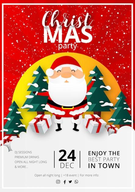 Folleto de fiesta de navidad con diseño plano vector gratuito