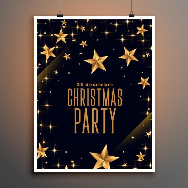 Folleto de fiesta de navidad de estrellas negras y doradas vector gratuito