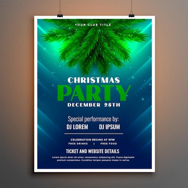 Folleto de fiesta de navidad con hojas de pino vector gratuito