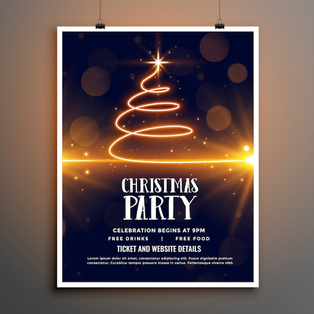 Folleto de fiesta de navidad o plantilla de póster vector gratuito