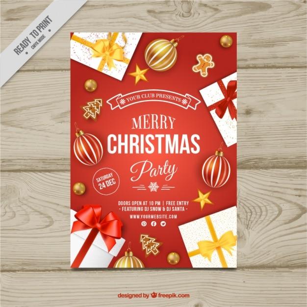 Folleto de fiesta navideña con regalos y bolas vector gratuito