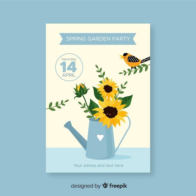 Folleto de fiesta primaveral de jardín vector gratuito