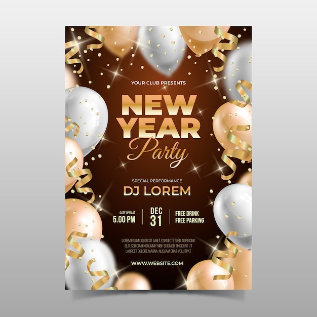 Folleto de fiesta realista de año nuevo de plantilla vector gratuito