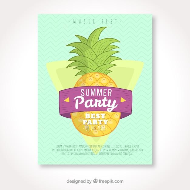 Folleto de fiesta de verano con piña dibujada a mano vector gratuito
