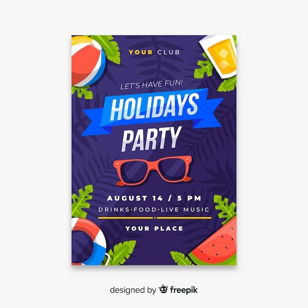 Folleto de fiesta de verano tropical vector gratuito