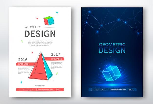 Folleto con formas geométricas, diseño abstracto Vector Premium