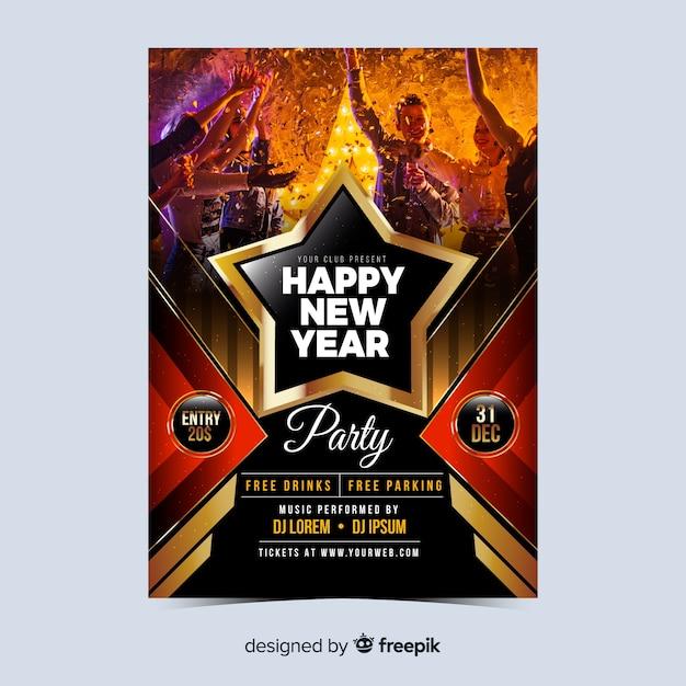 Folleto de gente de fiesta año nuevo 2020 vector gratuito