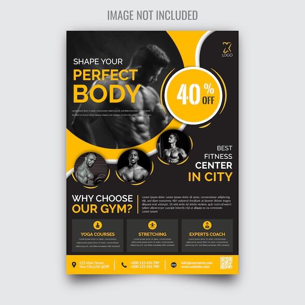 Folleto de gimnasio moderno y creativo Vector Premium