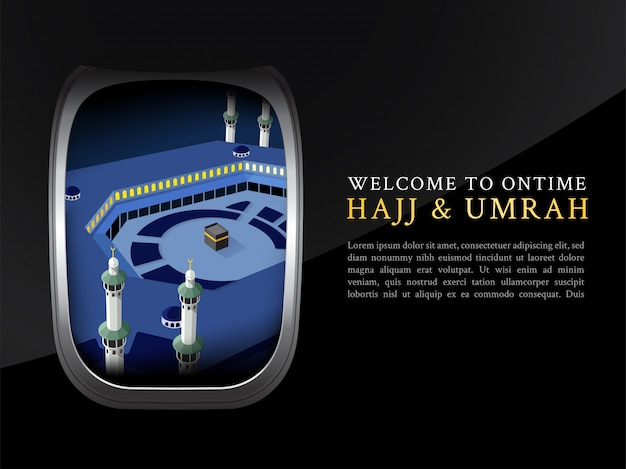 Folleto de hajj y umrah, póster, vista de plantilla de pancarta desde la ventana del avión Vector Premium
