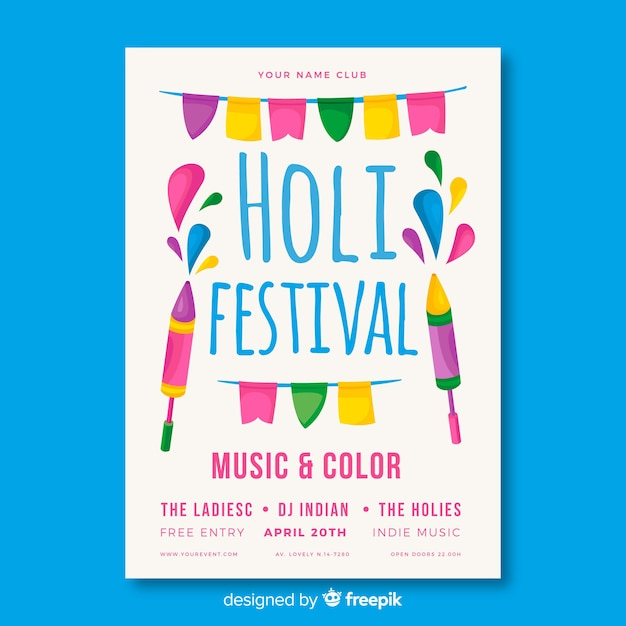 Folleto del holi festival vector gratuito