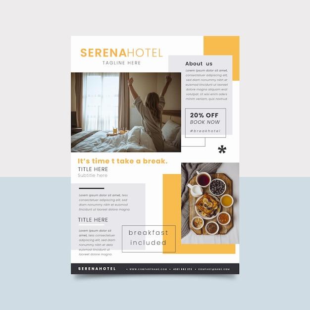 Folleto de información del hotel con foto Vector Premium