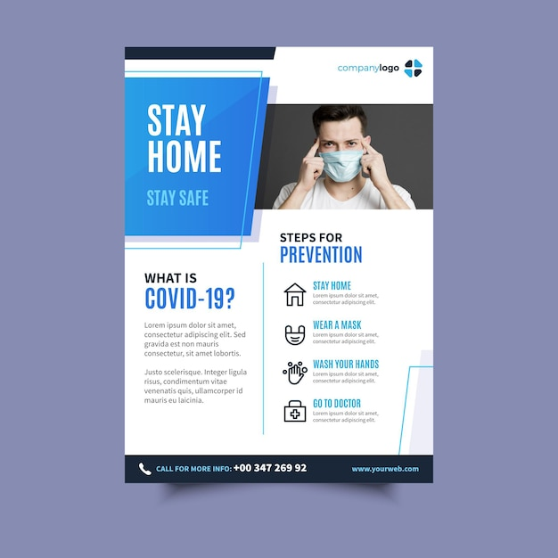 Folleto informativo sobre el coronavirus vector gratuito