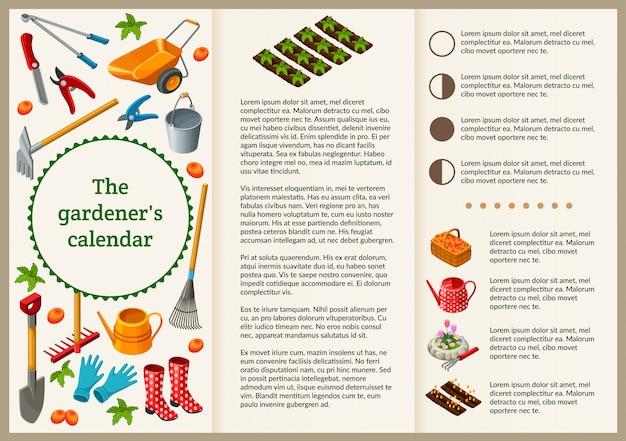 Folleto de jardinero para presentación. Vector Premium