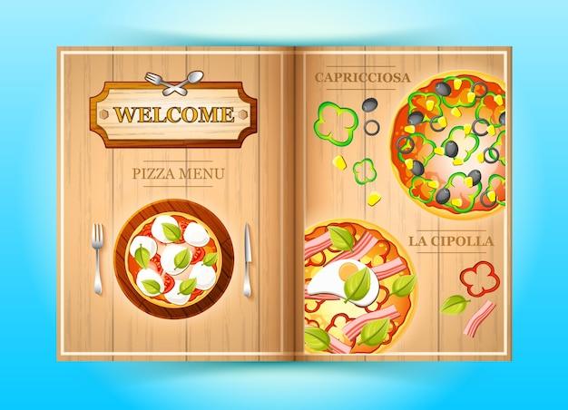 Folleto de menú de pizza colorido con ilustración de ingredientes de tomate y pimienta de maíz de carne de oliva vegetal vector gratuito