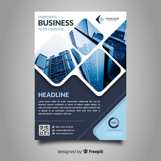 Folleto moderno de negocios con mosaico de fotos vector gratuito