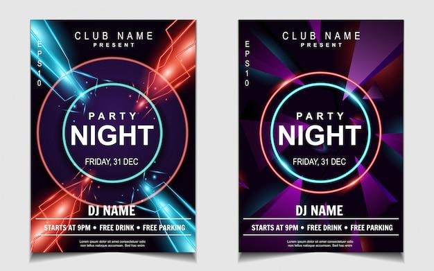 Folleto de música colorida fiesta de baile de noche de luz de neón Vector Premium
