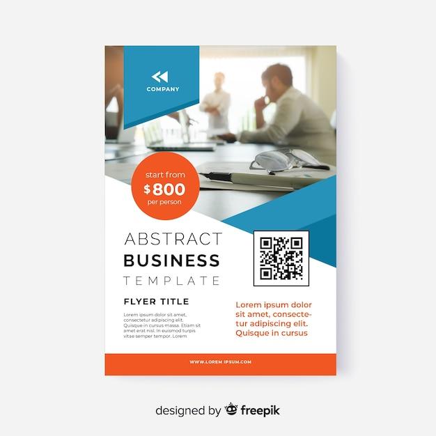 Folleto de negocio abstracto de plantilla con foto vector gratuito
