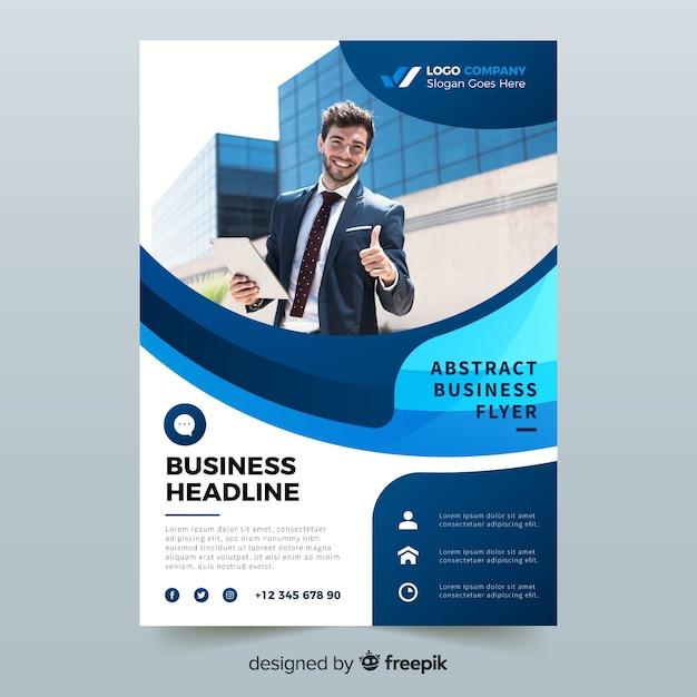 Folleto de negocios abstracto con plantilla de foto vector gratuito