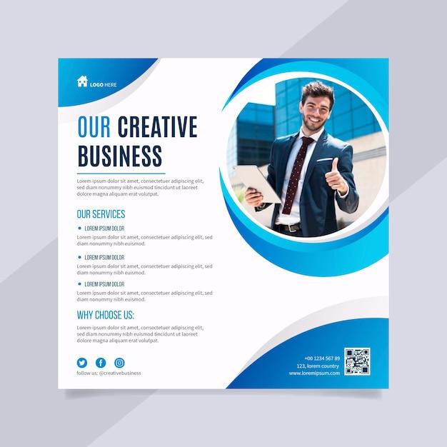 Folleto de negocios creativos cuadrados vector gratuito