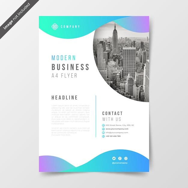 Folleto de negocios con ondas de gradiente. vector gratuito