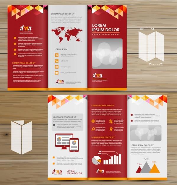 Folleto de negocios tri fold leaflet flyer diseño vectorial Vector Premium