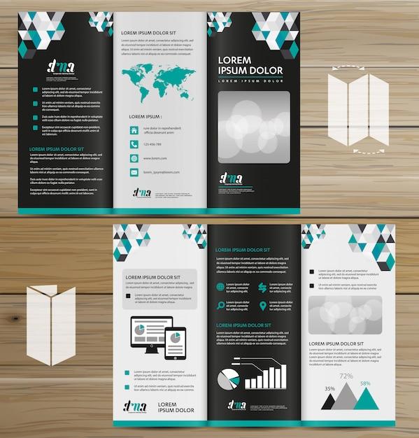 Folleto de negocios de tri fold leaflet Vector Premium