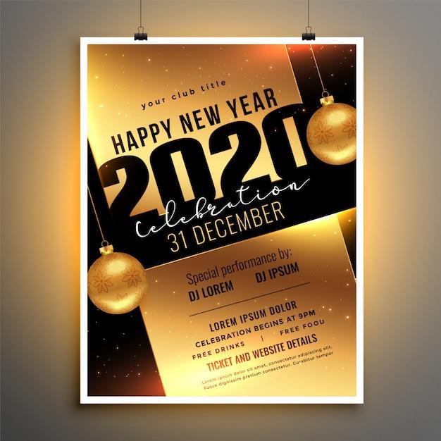 Folleto o cartel dorado para la plantilla de fiesta de celebración de año nuevo 2020 vector gratuito