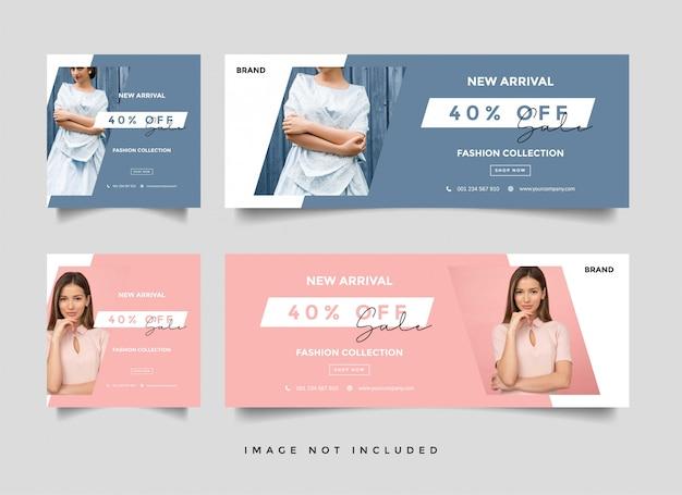 Folleto o cupón de venta de moda Vector Premium