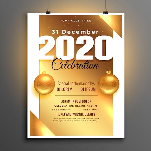 Folleto o póster de celebración de fiesta de año nuevo dorado hermoso de 2020 vector gratuito