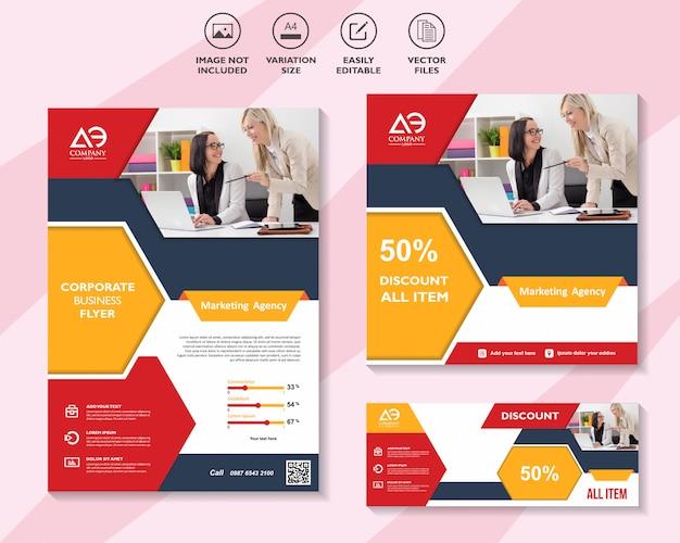 Folleto de plantilla de marketing en redes sociales folleto comercial Vector Premium