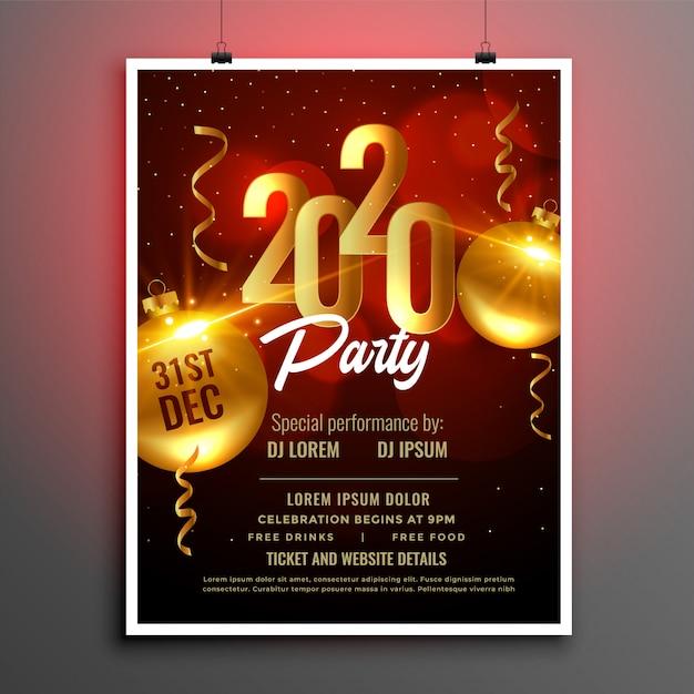 Folleto de póster de fiesta de año nuevo 2020 en colores rojo y dorado vector gratuito