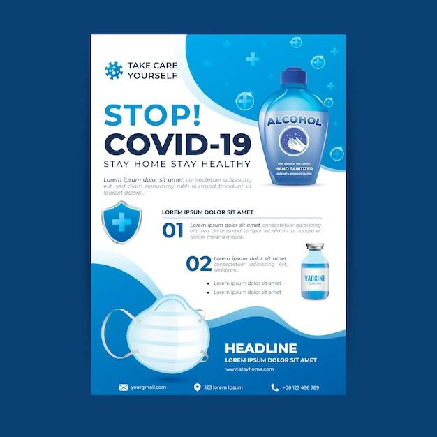 Folleto de productos médicos de coronavirus realista vector gratuito