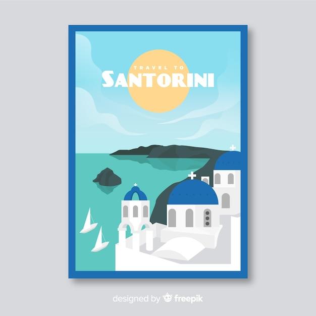 Folleto promocional retro de plantilla de santorini vector gratuito
