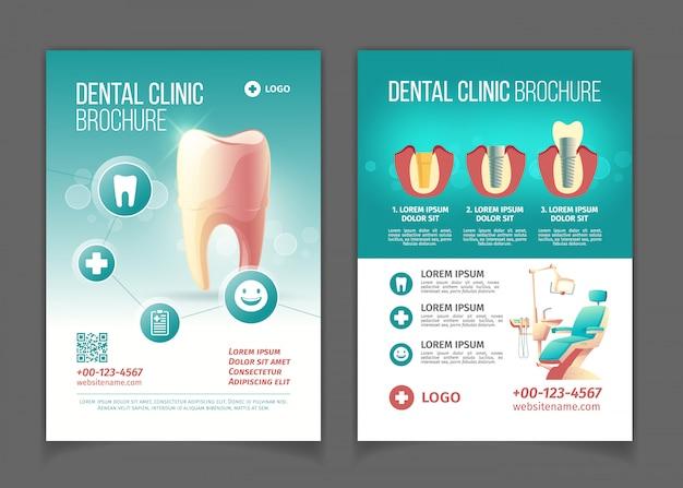 Folleto publicitario de la clínica dental, cartel de dibujos animados plantilla de páginas. vector gratuito