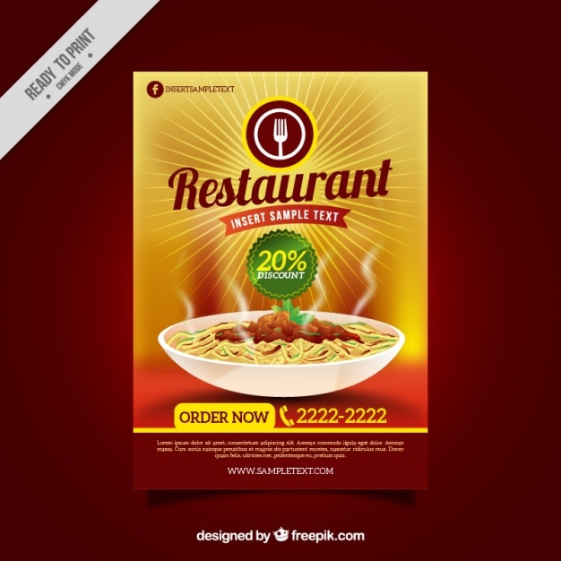 Folleto de restaurante con descuento vector gratuito