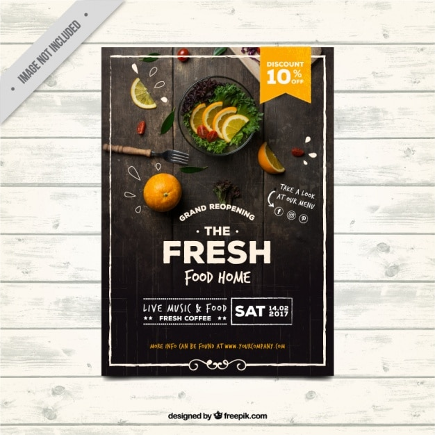 Folleto de restaurante en estilo vintage Vector Premium