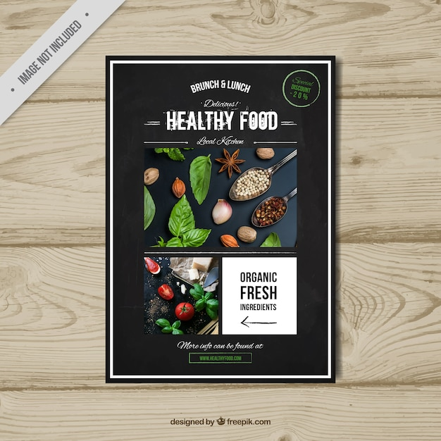 Folleto retro de comida saludable  Vector Gratis