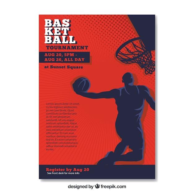 Folleto retro con silueta de jugador de baloncesto vector gratuito