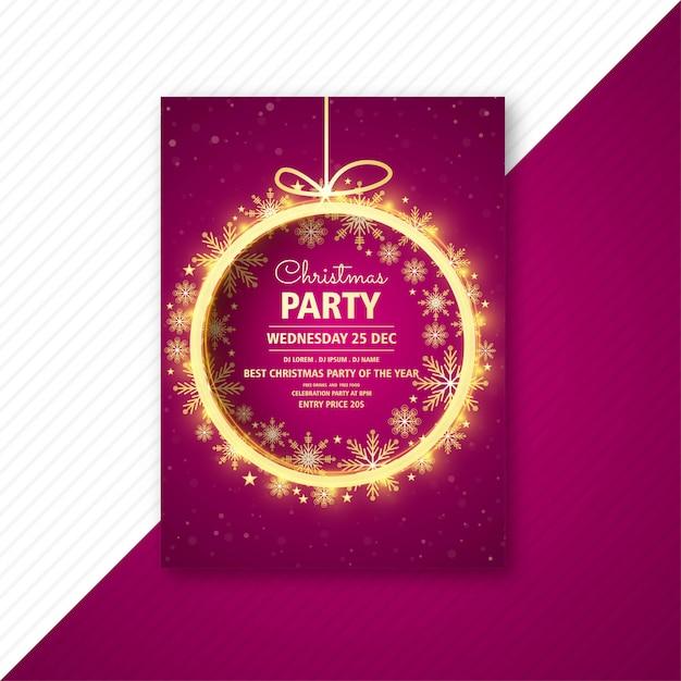 Folleto de tarjeta de plantilla de volante de fiesta de navidad vector gratuito