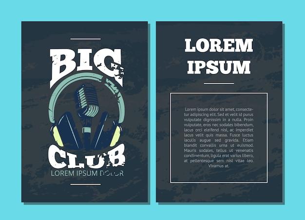 Folleto de tarjeta de vector con club de karaoke, logotipo de estudio de audio con micrófono y auriculares en ilustración de textura grunge Vector Premium
