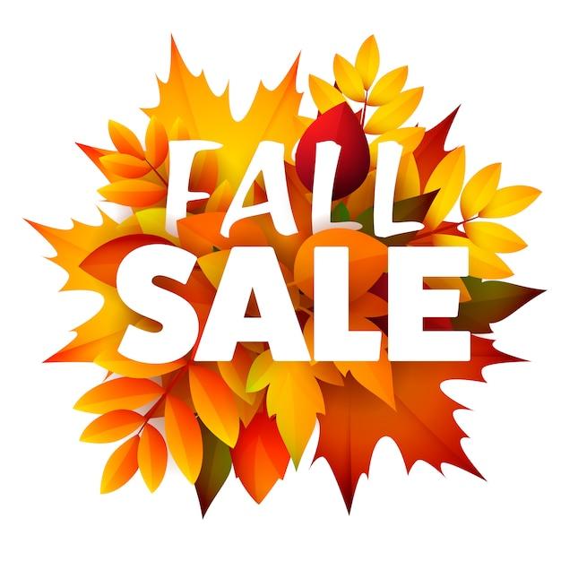 Folleto de temporada de venta de otoño con racimo de hojas vector gratuito