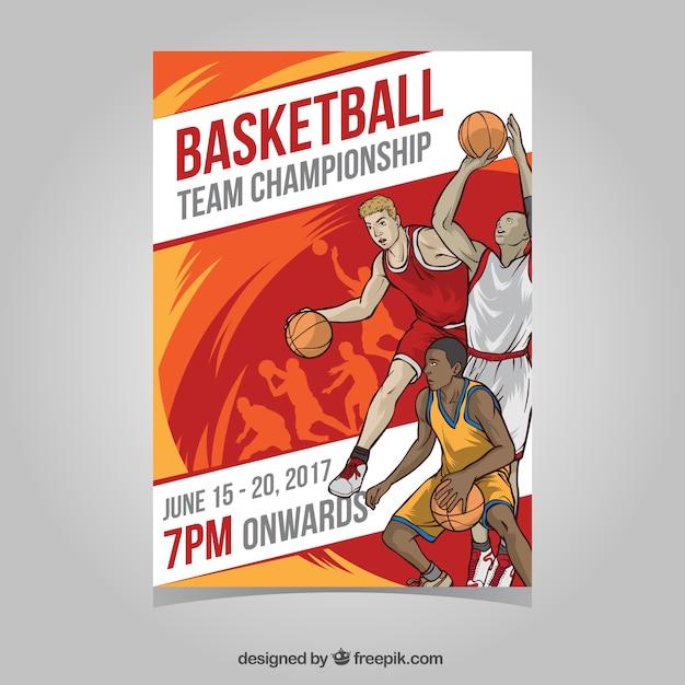 Folleto de torneo de baloncesto con jugadores vector gratuito