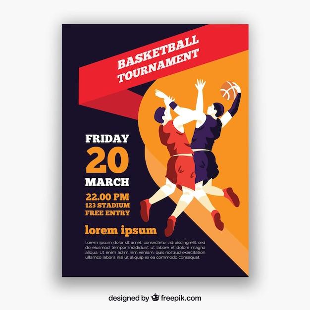 Folleto de torneo con jugadores de baloncesto vector gratuito