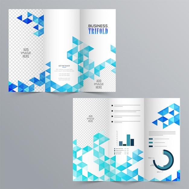 Folleto tri pliegue del negocio creativo con el diseño geométrico ...