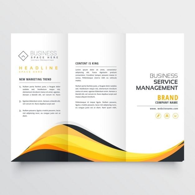 folleto triple de olas amarillas y negras abstractas